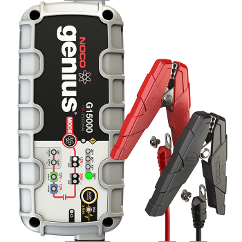 G15000 The G15000 is a portable automatic battery charger and maintainer for both 12V and 24V lead-acid and lithium-ion batteries. Designed for charging a Car, Boat, RV, SUV, or Diesel Truck. It monitors battery activity for safe and efficient charging without any overcharge and complete with a built-in battery desulfator to rejuvenate underperforming and sulfated batteries. And comes equipped with an integrated JumpCharge mode for rapid charging in a five minute cycle to start dead batteries.