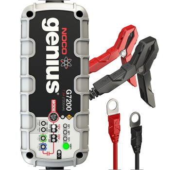 G7200 The G7200 is a portable and automatic battery charger. It can be used for both 12V and 24V lead-acid and lithium-ion batteries. The G7200 is designed for charging cars, boats, RVs, SUVs, diesel trucks, motorcycles, ATVs, snowmobiles, personal watercraft, lawn mowers, and much more. It also can be used as a battery maintainer to keep both starter and deep-cycle batteries fully charged. It also monitors battery activity for safe and efficient charging without any overcharge. The G7200 is complete with a built-in battery desulfator in order to rejuvenate under-performing batteries.