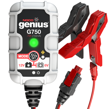 G750 The G750 is a portable automatic battery charger and maintainer for both 6V and 12V lead-acid batteries. Designed for charging a Motorcycle, ATV, Snowmobile, Personal Watercraft, Lawn Mower and much more. It also can be used as a battery maintainer to keep a Car, Boat, RV, and deep-cycle batteries fully charged. And it monitors battery activity for safe and efficient charging without any overcharge and complete with a built-in battery desulfator to rejuvenate underperforming batteries.