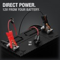 Direct Power. 12V output resting on top of battery with clamps attached to terminals