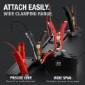 Attach Easily. Wide Clamping range. Battery clamps on small terminal and large terminal up to 1.25in