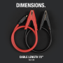 Dimensions. Coiled battery clamps flat on ground with 72-inch cable length.