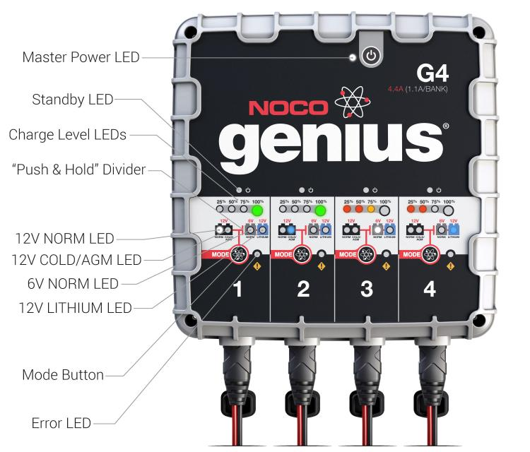 NOCO - 4 4A 4-Bank Battery Charger and Maintainer - G4