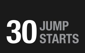 30 jump starts per one charge of Boost