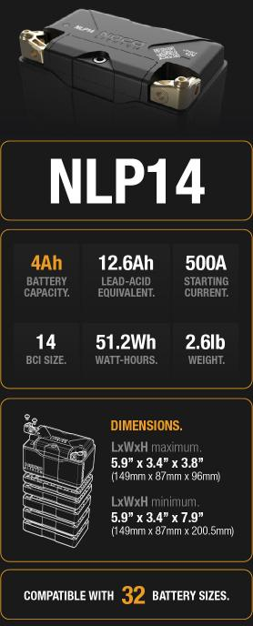 NLP14 4Ah Lithium Powersport Battery