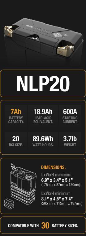 NLP20 7Ah Lithium Powersport Battery