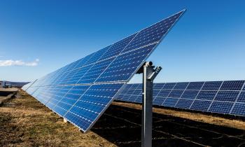 Photovoltaic solar panel converting sunlight into power.