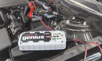 NOCO Genius G7200 Battery Charger and Maintainer charging car battery.