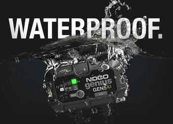 Learn more about NOCO Genius On-Board Battery Chargers - 100% waterproof and IP68 rated.