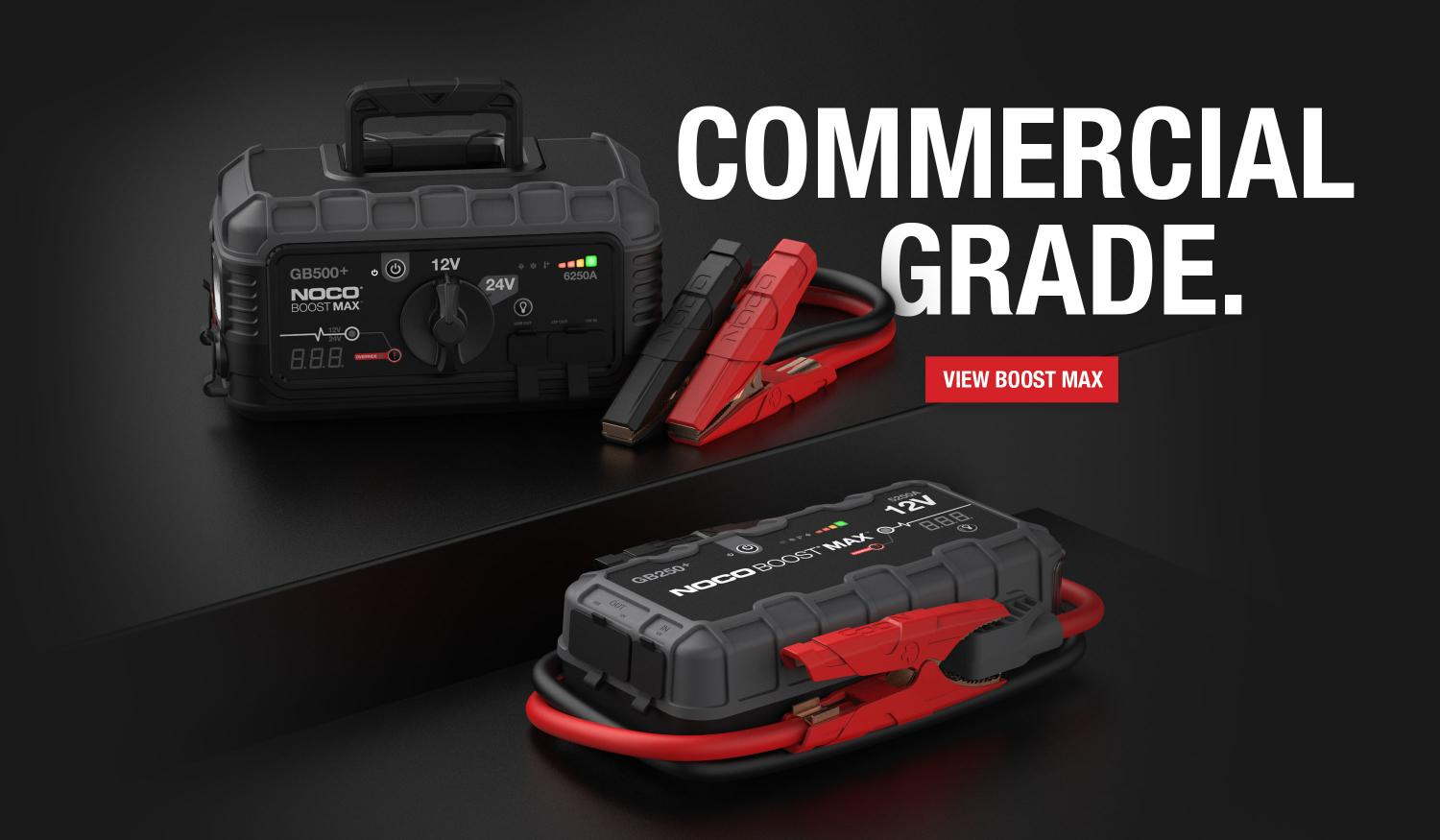 The all-new Boost Max jump starting series built for commercial applications including construction equipment and fleet. Made for 12V and 24V batteries.
